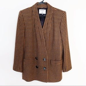 Vintage Houndstooth Long Blazer Mustard Yellow